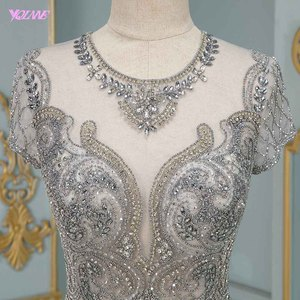 Image 4 - Luxury Silver Rhinestones Cap Sleeve Evening Dresses Long Mermaid Evening Gown Competition Formal Dress Robe De Soiree