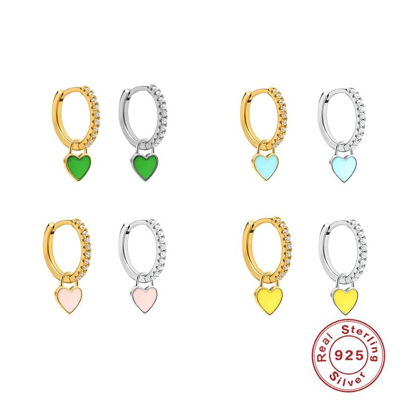 Aide 925 Sterling Silver Huggie Hoop Earrings for Women Geometric Love Zircon Piercing Earring Earings Silver Jewelry Pendientes