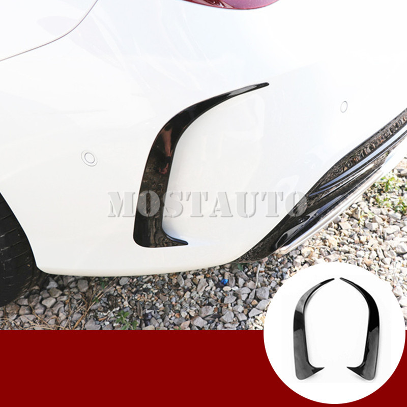 For Benz CLA C117 W117 <font><b>CLA45</b></font> <font><b>AMG</b></font> Black Rear Bumper Spoiler Air Vent Trim Cover 2013-2020 2pcs image