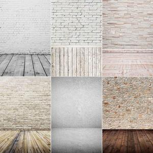 White Various Brick Wall Wood Board Floor Backdrop Decor Baby Shower Newborn Pet Food Photography Background Photo Studio Props