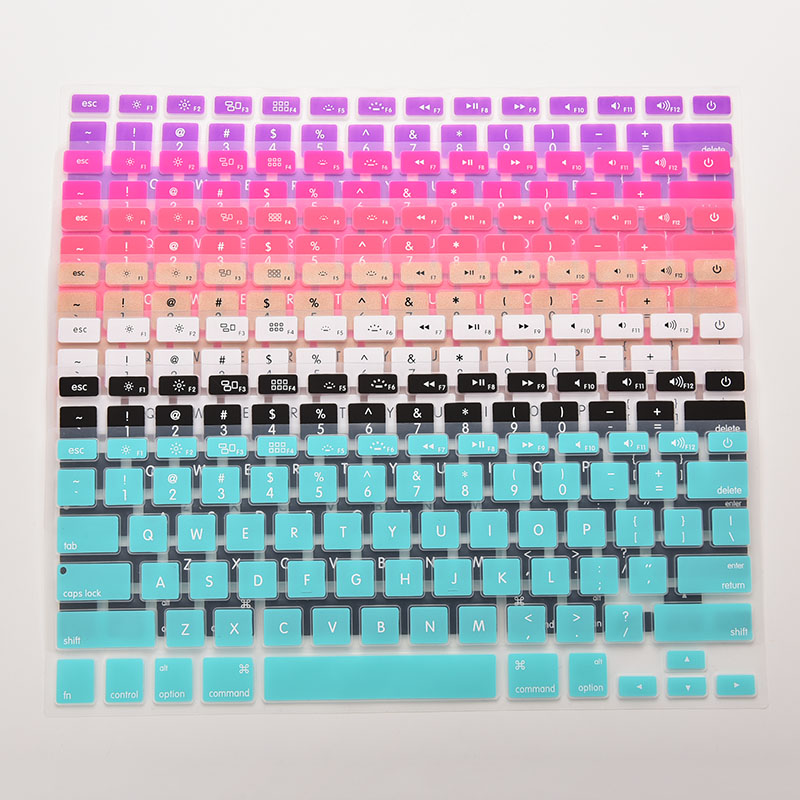 7 Candy Colors Silicone Keyboard Cover Sticker For Macbook Air 13 Pro 13 15 17 Protector Sticker Film-3