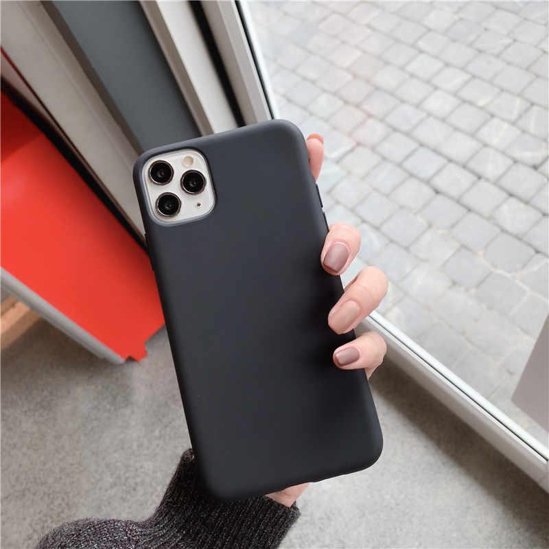 Mờ Dành Cho iPhone 11 Pro Max 11Pro XS X XR 7 8 Plus 6 6S SE 2020 5 5S IPhone11 Ốp Điện Thoại Da Xanh Tím Phụ Kiện