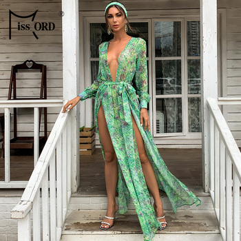 Missord Sexy Deep V Neck Floral Print Split Boho Beach Dress Long Sleeve Party Dress Women Lace Up Autumn Maxi Dresses MM183 2019 new spring v neck short sleeve print yellow pink chiffon dots loose big size xl long maxi split dress women fashion tide