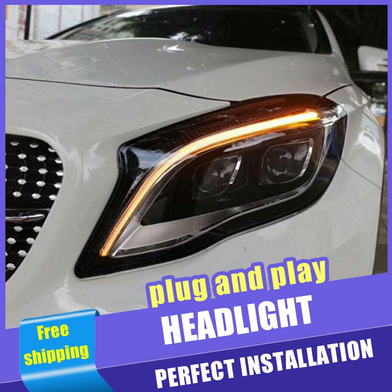2 pièces voiture Style LED phares pour Benz GLA 15-18 pour GLA lampe frontale tout LED DRL lentille Double faisceau H7 caché xénon bi xénon lentille