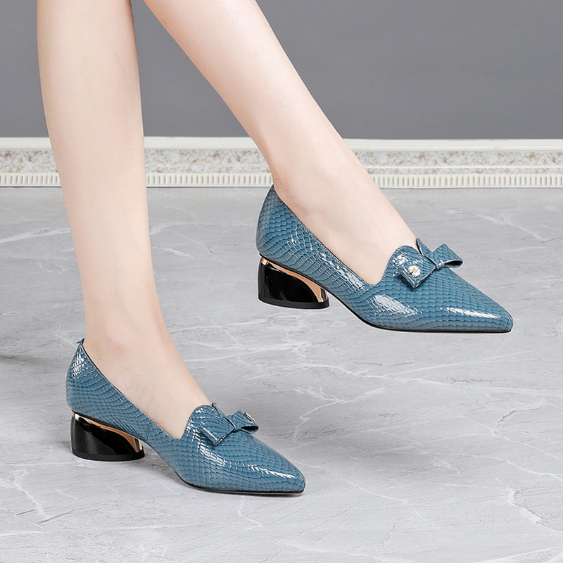 Autumn 2020 new chunky single shoes for women with blue bow leather shoes for women with pointed toes fashion shoes for women|Women's Pumps| - AliExpress
