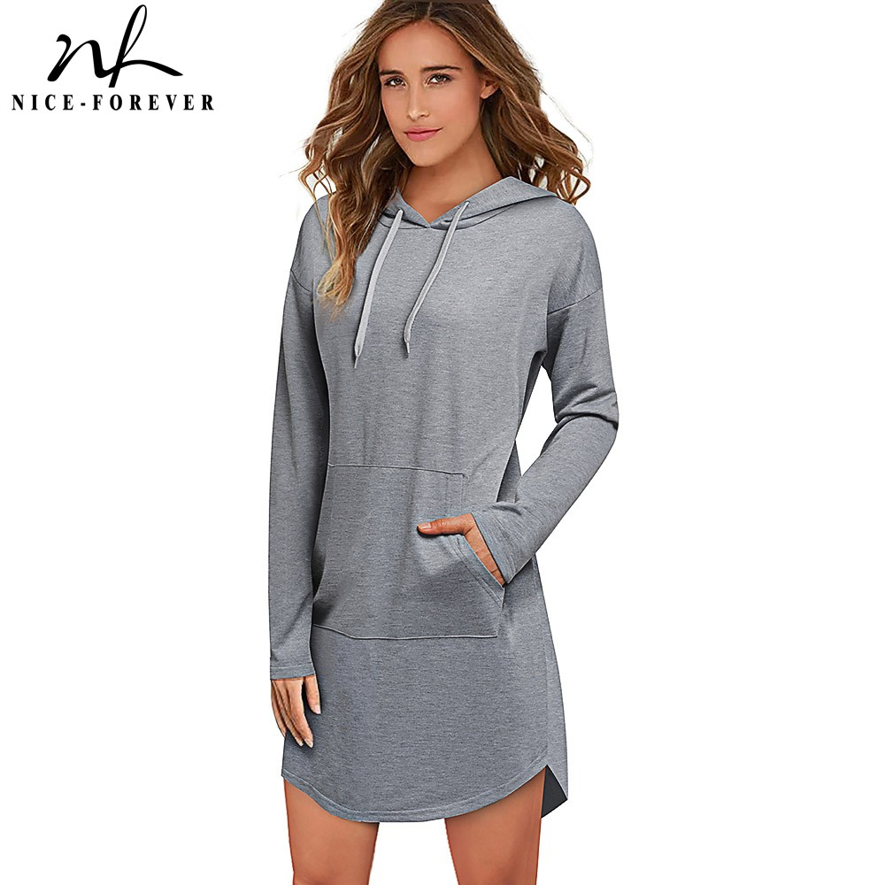 Nice-Forever Casual Pure Color With Long Sleeve And Pocket Hoodies Winter Women Loose Sweatshirts B557