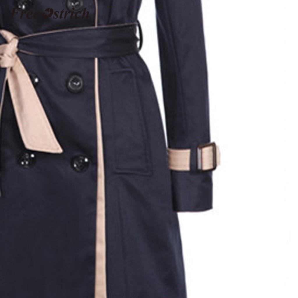 Бесплатная Страусиная Мода 2019, Женский Тренч, пальто с отложным воротником, двубортный длинный Тренч, тонкий плюс размер, ветровка N7 - 6