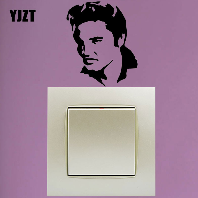 YJZT Elvis Hip Hop Rap Vinyl Decoration Switch Sticker Children Lightswitch Decals S18-0032(China)