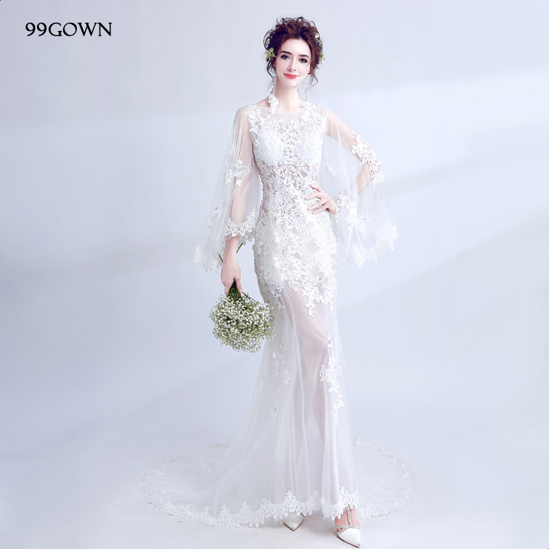 99GOWN Tulle Wedding Dress 2019 Simple Long Batwing Sleeve Sexy Backless Bridal Mermaid Dress Tulle Sweep Train Bridal Gown