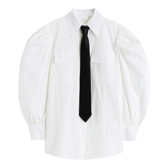 Nomikuma Japanese Puff Sleeve Women Shirt Causal Turn-down Collar Tie Blouse Top 2021 Spring New Causal Blusas Mujer 6E761 3