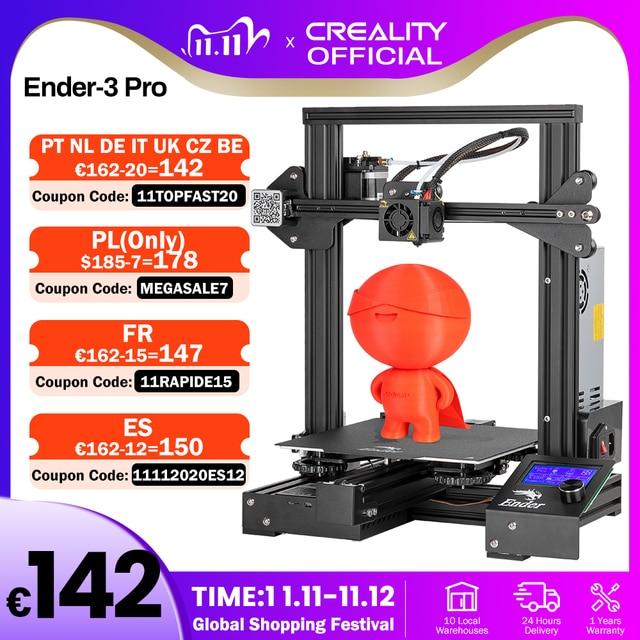 CREALITY Ender 3 3D Pro para impresora, mascarillas de impresión, placa de construcción magnética, KIT de impresión de fallo de energía, fuente de alimentación Mean Well