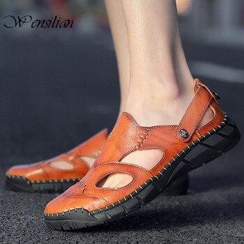 Sandalias de verano suaves de cuero para Hombre, Zapatos de playa informales de verano para Hombre, zapatillas de exterior de gran tamaño para Hombre