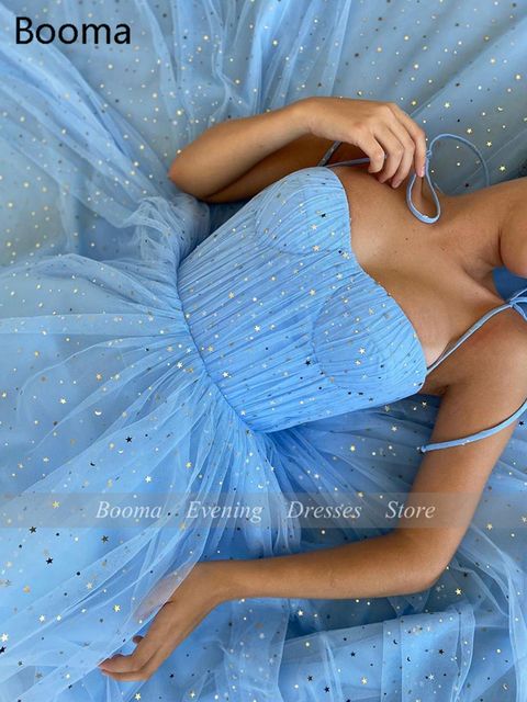 Fairy Blue Princess Prom Dresses Sparkly Starry Tulle Strapless Short Prom Gowns Pleated Tea-Length A-Line Formal Party Gowns 4
