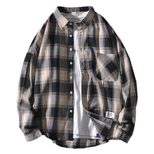 2019Japanese Summer Harbor Wind Loose Long Sleeve Plaid Shirt Men Jacket Ins Korean Retro Trends Clothes  Street Wear 50CS