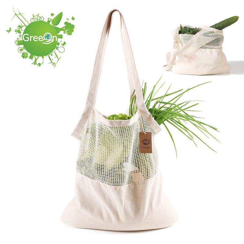 NEW Zero Waste Shopping Bag Organic Cotton Mesh Vegetable Produces Bags Reusable