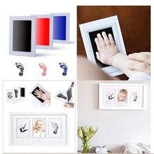 1 pçs não-tóxico bebê recém-nascido mão pegada foto fram bonito dos desenhos animados do bebê handprint pegada kits bebê da criança lembranças