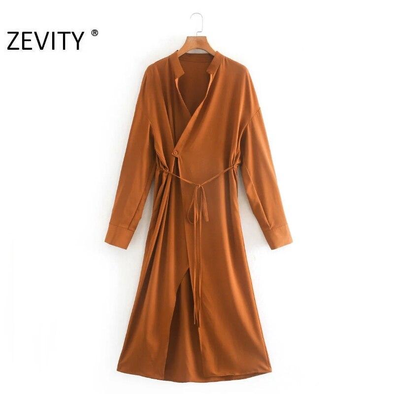 ZEVITY New Women fashion stand collar solid color casual kimono wrap midi Dress Female bow tied Vestidos leisure Dresses DS4316