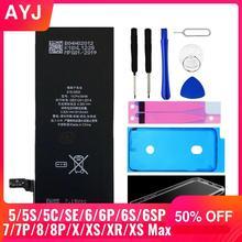 AYJ Brand New AAAAA jakości baterii dla iPhone 6S 6 5 5S X SE 7 8 Plus XR Xs Max wysoka rzeczywista pojemność Zero cyklu...