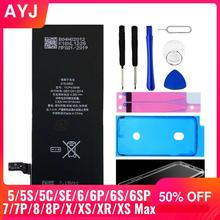 AYJ Neuf AAAAA Qualité Batterie Pour iPhone 6S 6 5 5S X SE 7 8 Plus XR Xs Max Haute Capacité Réelle Zéro Outil De Cycle Autocollant