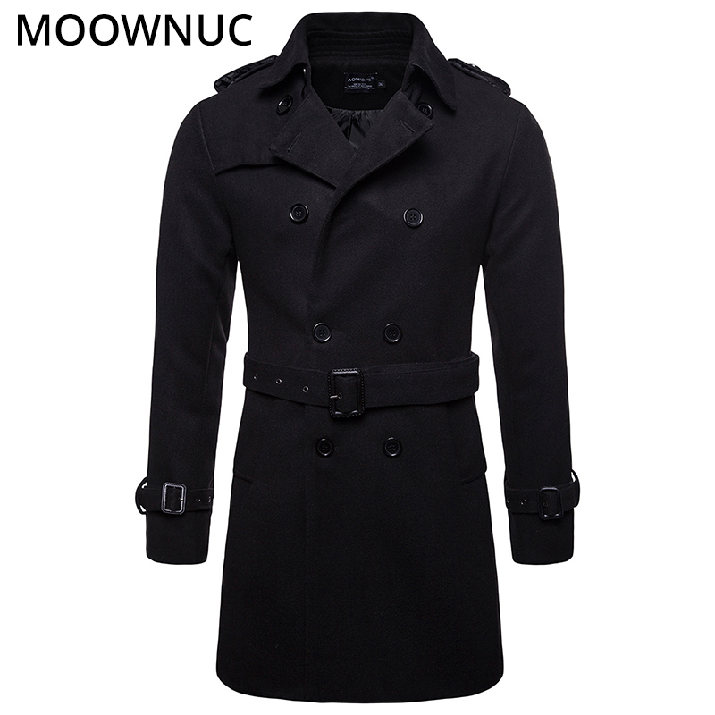 Male Woollen Overcoat Men's Coats Slim Business Smart Casual Thick Autumn Winter Fashion Blends Brand Men's Clothes MOOWNUC MWC