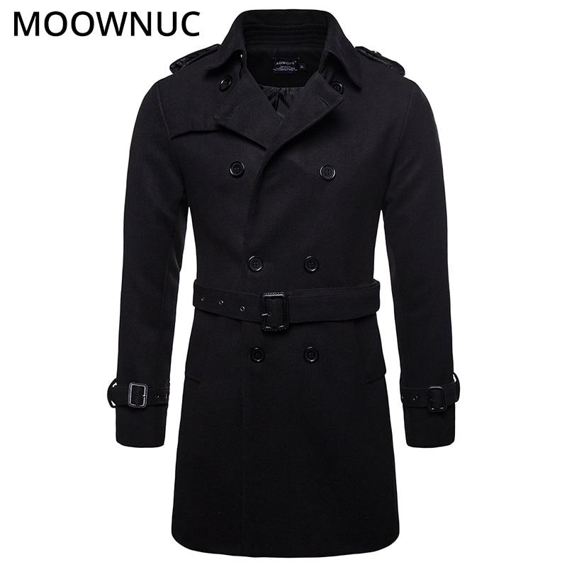 Male Woollen Overcoat Men's Coats Slim Business Smart Casual Thick Autumn Winter Fashion Blends Brand Men's Clothes MOOWNUC MWC