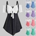 Летние сексуальные топы, женская футболка большого размера, однотонные женские футболки с завязками, модная одежда с коротким рукавом и отк...