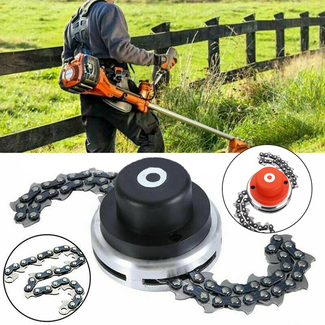 $ US $11.57 Multifunctional Chain Orange Lawn Machine Cutting Home Professional Trimmer Head Bushes Metal Portable Mower Chain Drop Shipping