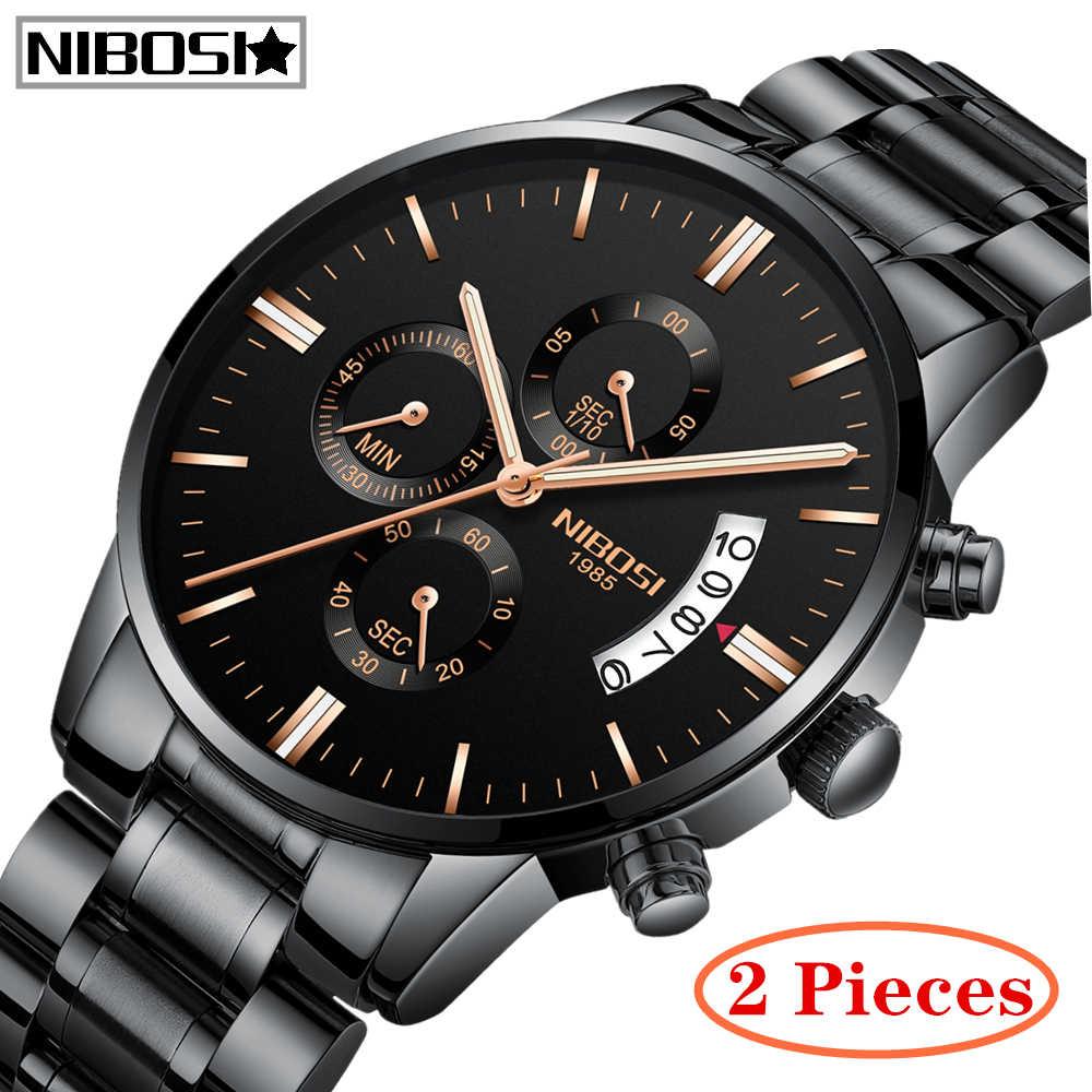 2 個 NIBOSI トップブランドの高級メンズ軍事スポーツ腕時計メンズクォーツ時計フルスチール防水腕時計レロジオ masculino