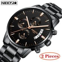 цена 2Pcs NIBOSI Top Brand Luxury Men Military Sport Watches Men's Quartz Clock Full Steel Waterproof Wrist Watch Relogio Masculino онлайн в 2017 году
