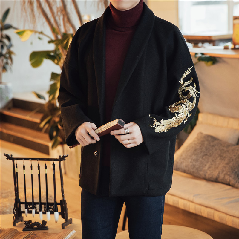 Men Clothes 2019 Japanese Golden Dragon Embroidery Trench Coat Men Lapel Robe Jacket Men Single-breasted Windbreaker