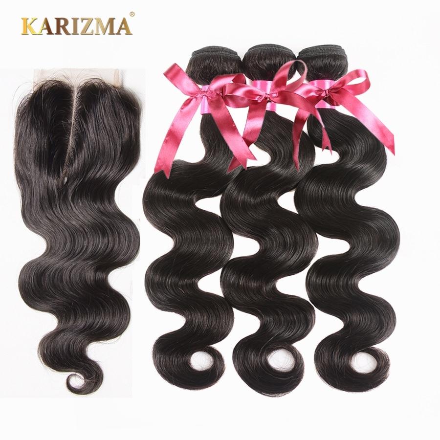 Karizma Peruvian Body Wave Hair Bundles With Closure Non Remy Human Hair Weave Bundles With Closure Middle Part Peruvian Hair