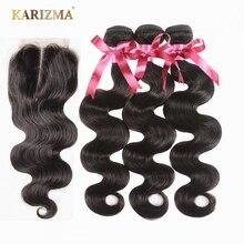 Karizma פרואני גוף גל שיער חבילות עם סגירת ללא רמי שיער טבעי Weave חבילות עם סגירת אמצע חלק פרואני שיער