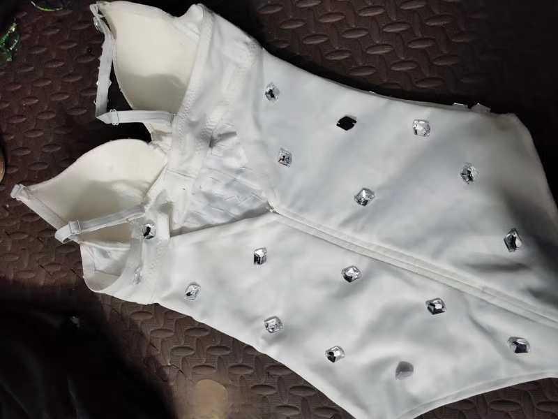 Сексуальные Серебряные стразы боди с сетчатой юбкой женские вечерние купальник латинский танцевальный костюм ночной клуб DJ певец сценический комбинезон