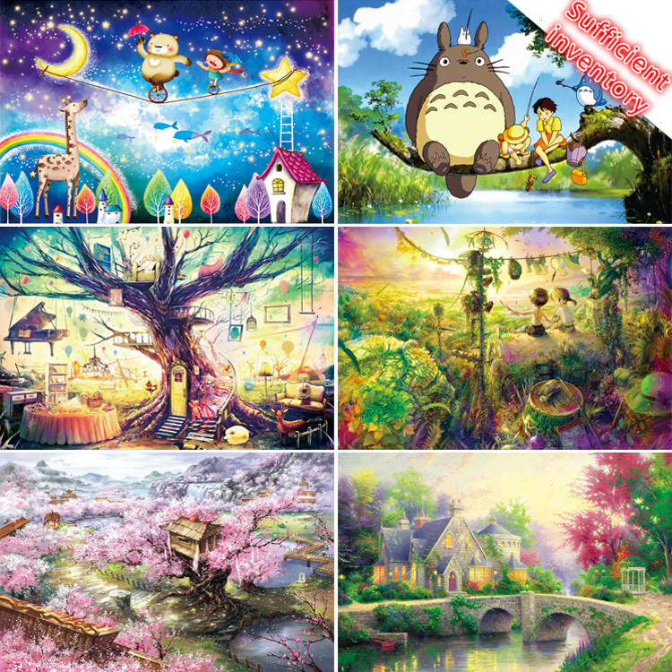 Sufficient Inventory 1000 Pieces Adult Puzzle Kids Jigsaw Landscape Wooden Puzzles Educational Toys Pairing Puzzles Gift