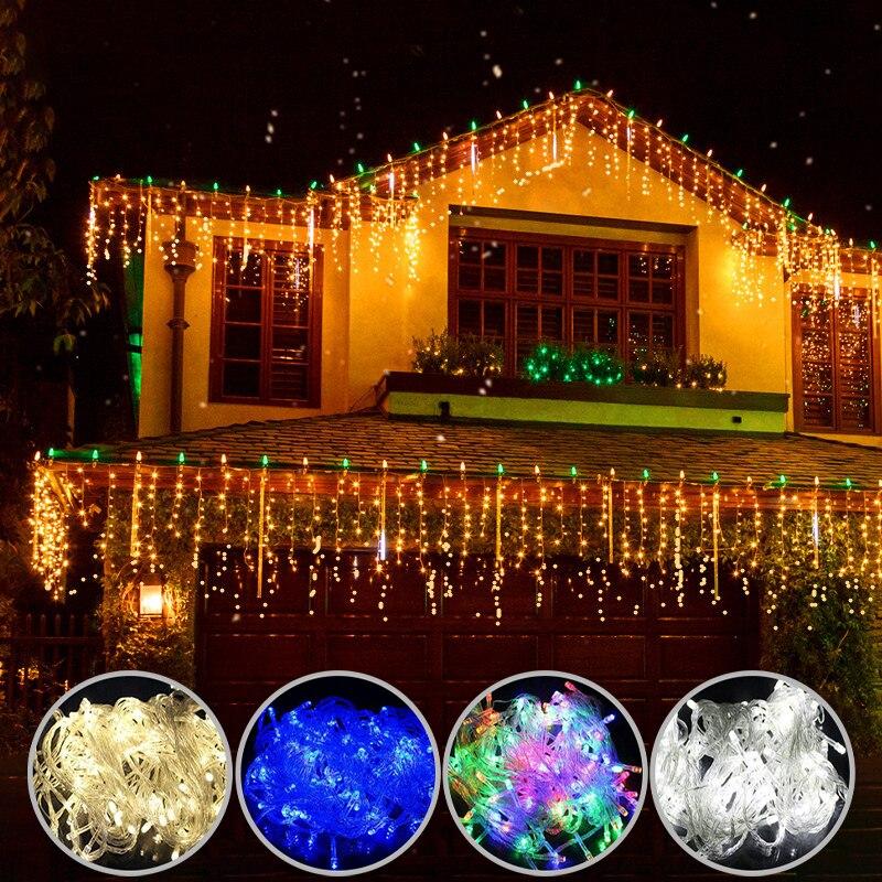 Luzes de natal cortina led luzes da corda do icicle 5m droop 0.4-0.6m cachoeira decoração ao ar livre para festa jardim casa casamento