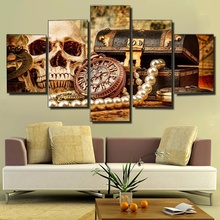 Hot Selling 5 Pieces Home Decor Print oil painting Wall Art Decorations Canvas, Set Red Rose Skull