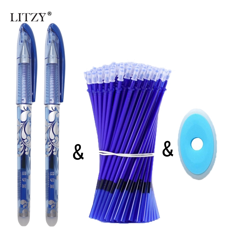 12/13Pcs Erasable Pen Set Erasable Washable Handle Erasable Pen Refill 0.5mm Blue Ink Magic Ballpoint Pens For School Stationery
