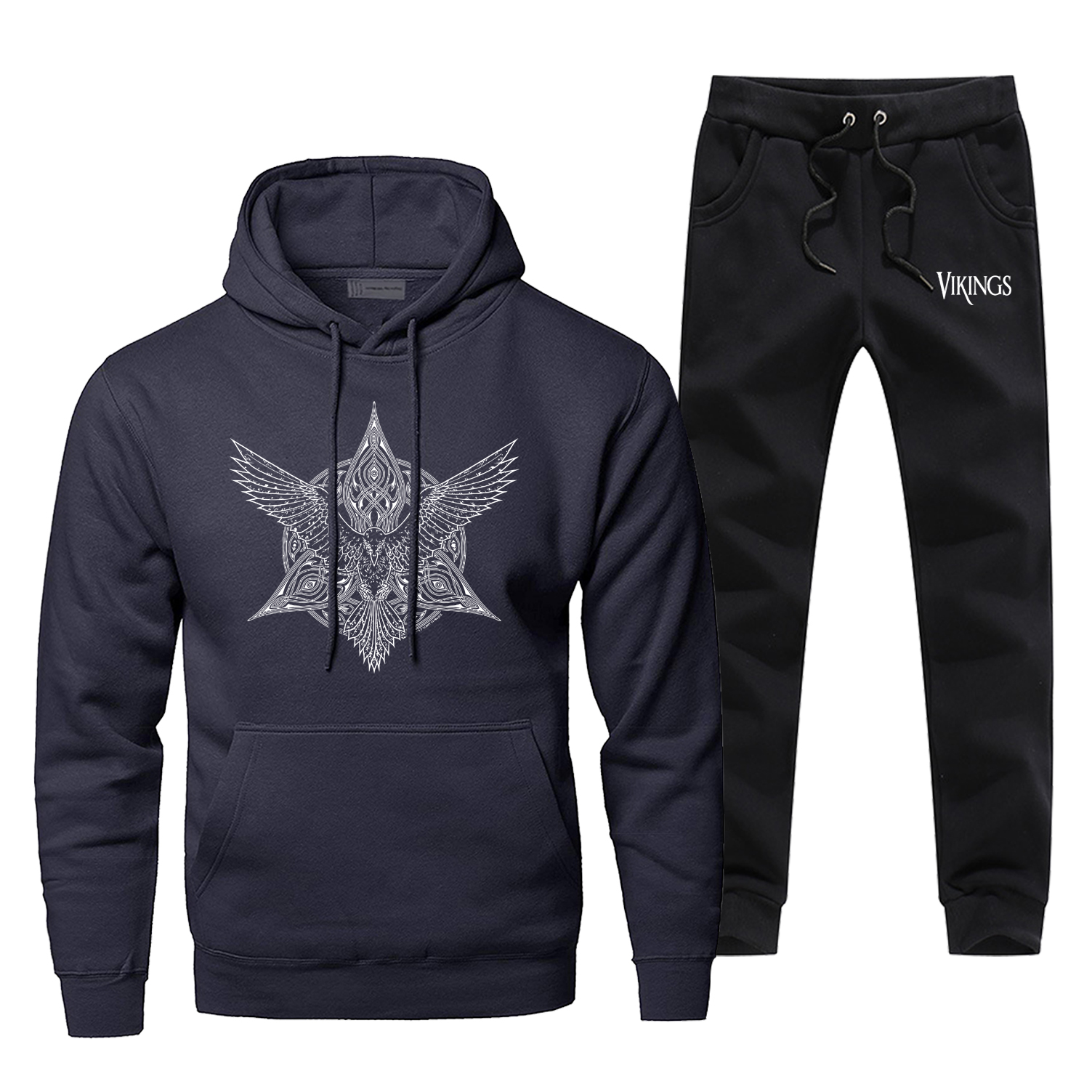 Fashion TV Show The Viking Men Hoodies+pants Two Piece Sets Casual Autumn Winter Fleece Warm Vikings Sweatshirts Sportsman Wear