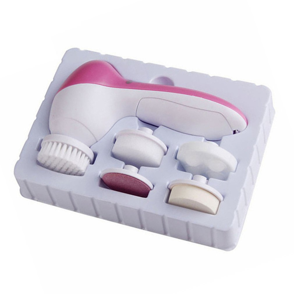 Face Massager 5 In 1 Electric Wash Face Machine Facial Pore Cleaner Body Cleansing Massage Mini Skin Beauty Massager Brush