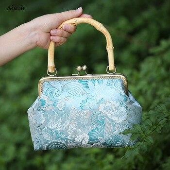 Niestandardowe Aqua Butterfly torebka prosty uchwyt bambusowy kobiet torba vintage ręcznie robiona tkanina torba jedwabny brokat projektant torebki damskie