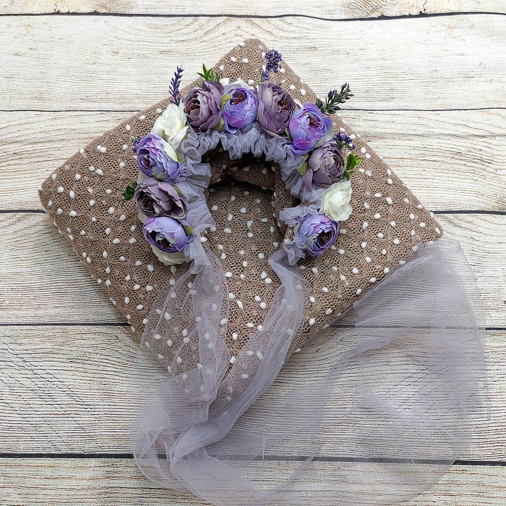 150*100cm Knit Bobble Wraps+Floral Baby Bonnet Vintage Flower Clusters Bonnet  Baby Gril Hat for Newborn Baby Photography Props