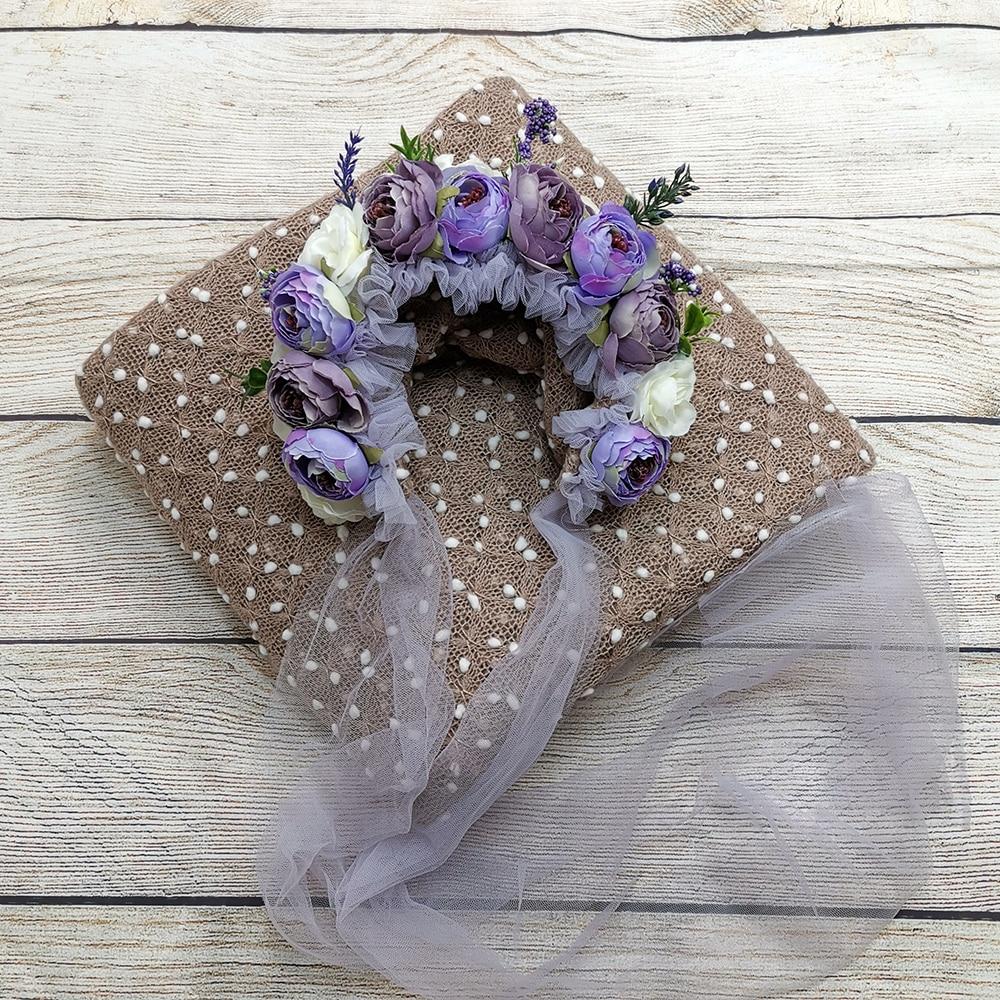150*150cm Knit Bobble Wraps+Floral Baby Bonnet Vintage Flower Clusters Bonnet Sitter Baby Hat for Newborn Baby Photography Props