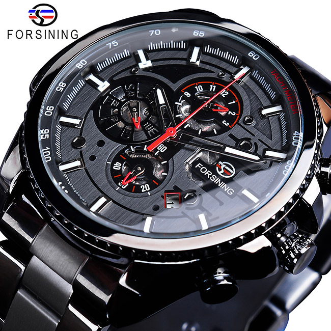 Forsining Three Dial Calendar Stainless Steel Men Mechanical Automatic Wrist Watches Top Brand Luxury Military Sport Innrech Market.com