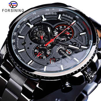 Forsining Three Dial Calendar Stainless Steel Men Mechanical Automatic Wrist Watches Top Brand Luxury Military Sport Male Clock - DISCOUNT ITEM  30% OFF All Category