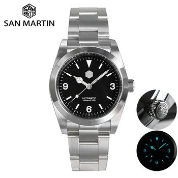 San Martin męski Explorer zegarek dla nurka 36mm czarna tarcza Sapphire SW200 mechanizm automatyczny 100m wodoodporny BGW-9 niebieski Luminous tanie i dobre opinie 10Bar CN (pochodzenie) Składane bezpieczne zapięcie SPORT Do nurkowania Samoczynny naciąg 7 5inch STAINLESS STEEL Odblaskowe