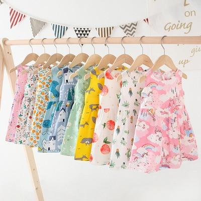VIDMID baby kids girls summer short sleeve dresses cotton folwers dresses kids girls casual dresses children clothing 7119 03 1