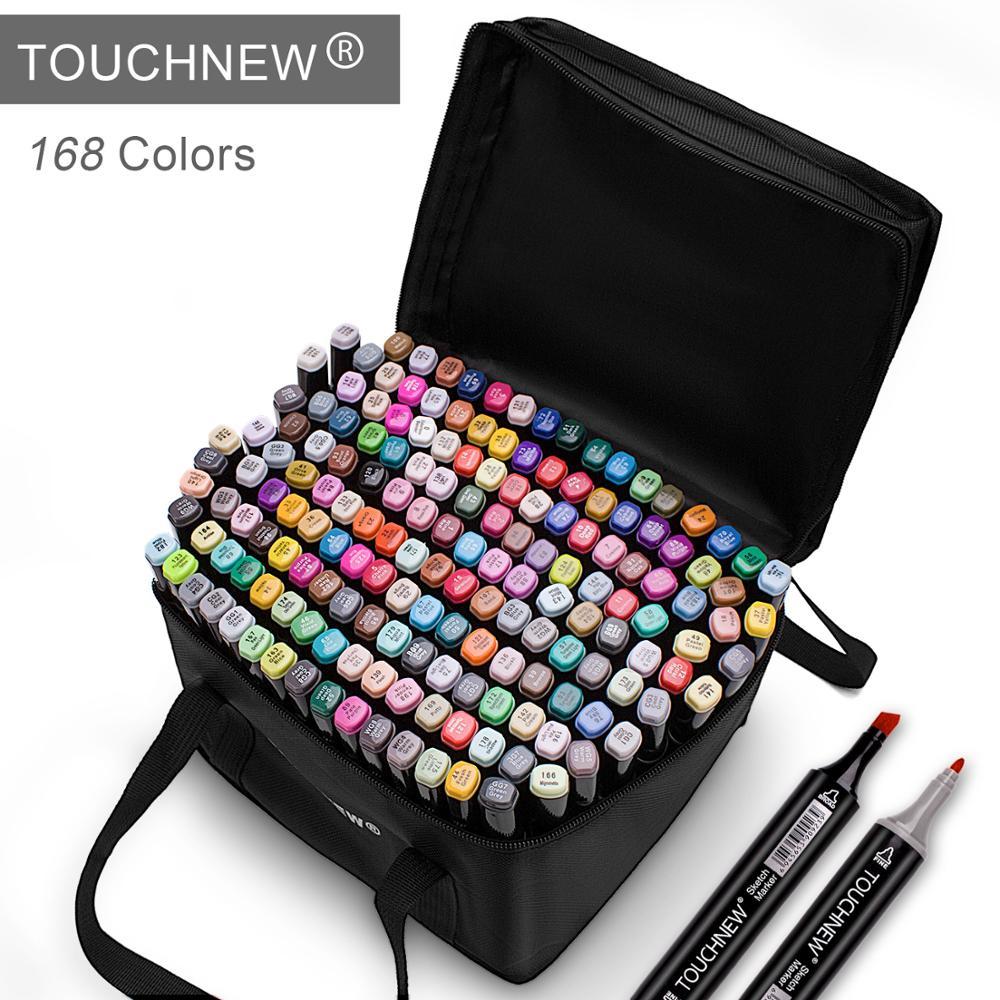 Touchnew marcadores caneta 60 80 168 cores esboço twin marcador canetas amplo ponto fino gráfico mangá anime marcadores graffiti arte suprimentos