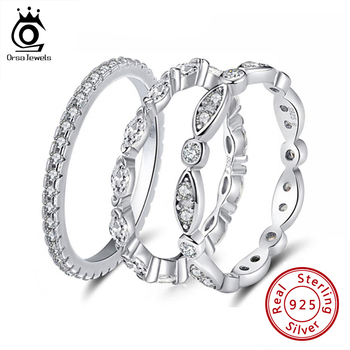 ORSA JEWELS Real 925 Sterling Silver Women Rings AAA Cubic Zircon Fashion Wedding Ring Jewelry Round Finger Ring For Ladies SR71 1