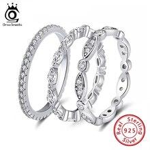 ORSA JUWELEN Echt 925 Sterling Silber Frauen Ringe AAA Cubic Zirkon Mode Hochzeit Ring Schmuck Runde Finger Ring Für Damen SR71