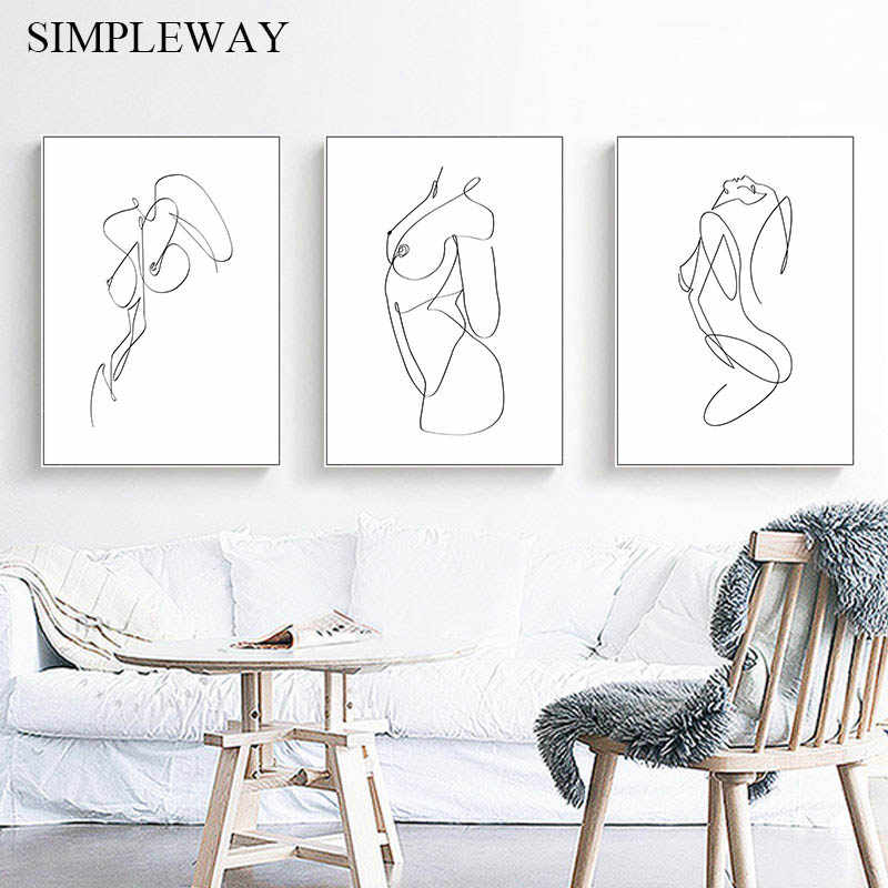 Abstract Art Print. Black /& White Minimalist Female Body Lines